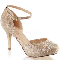 Fabulicious Gold Ankle Strap d'Orsay Pump