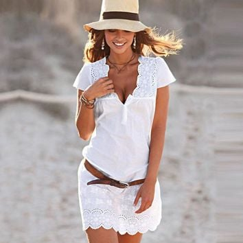 Women Summer Sexy V Neck Lace Short Sleeve Dress Cotton blend Solid tunic ladies tunics beach tunic Beach Cover