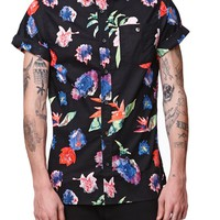 Modern Amusement Water Flower Short Sleeve Woven Shirt - Mens Shirt