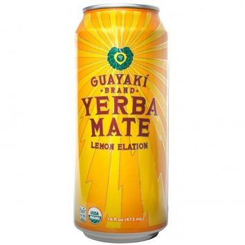 Guayaki Yerba Mate Lemon Elation Energy Tea 16 Oz Cans - Case of 12