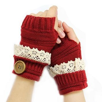 Farmhouse Chic Short Writing Gloves in Red