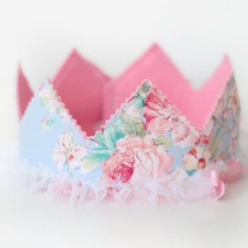 Birthday Crown, Shabby Pink and Blue, Cottage Chic, 1st Birthday, 2nd Birthday, Girl Birthday, Tea Party, Dress Up, Flower Girl, Princess