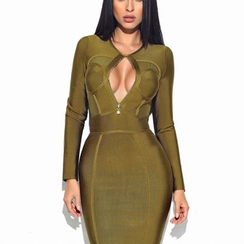 Xenia Olive Green Sheer Cut Out Long Sleeve Bandage Dress