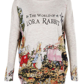 The world of Lora rabbit top jumper knitwear oversized top shirt womens ladies cardigan