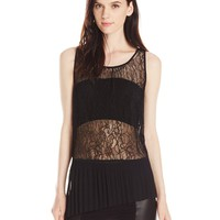 BCBGeneration Women's Lace Pleated Tank Top