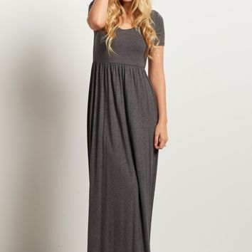 Charcoal-Solid-Short-Sleeve-Maxi-Dress