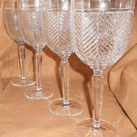"Ralph Lauren Herringbone German Crystal 9 1/4"" Water Goblets Set Of 4 Early 1990's Fine Dining Entertaining Home"