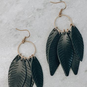 Leather Feather Earrings, Black