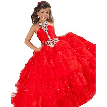 halter red pageant dresses for girls glitz kids prom dresses girls ball gown party dress organza corset girls pageant dresses