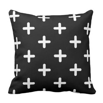 Modern White Cross Pattern Throw Pillow