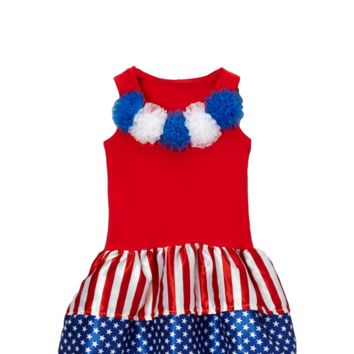 4th of July Red Flag Rosette Dress