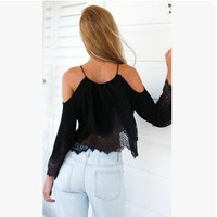 Strapless Chiffon Sexy Off Shoulder Lace Tops = 5826360065
