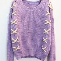 Pretty Long Sleeve Contrast Sweater Purple  S008546