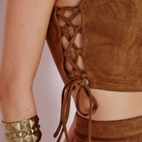 SUEDE LACE UP CROP TOP TAN