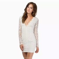 Summer Women's Fashion Star V-neck Lace Slim Bottoming Shirt One Piece Dress [6281612228]