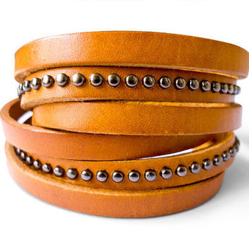 2 Circles Leather Wrap With Antique Rivets Adjustable Leather Bracelet