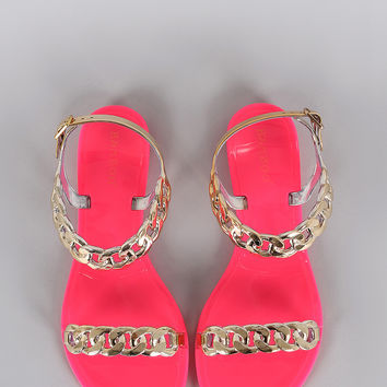Bamboo Jelly Neon Chain Flat Sandal