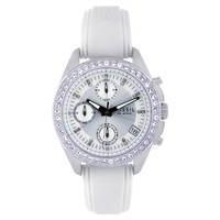 Fossil Women's ES2883 Silicone Analog with Silver Dial Watch