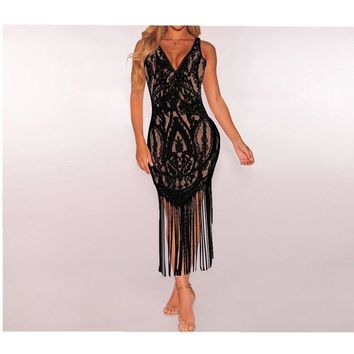 2018 New Tassel Beach Cover-Ups Women Sexy V Neck Lace Dress Prom Evening Party Cocktail Tassels Bodycon Beach Dress Black&White