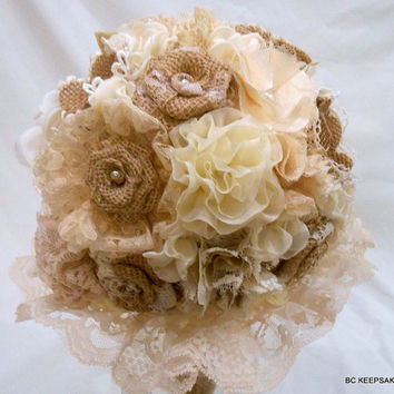 Custom Shabby Chic Rustic Burlap Lace Wedding Bouquet
