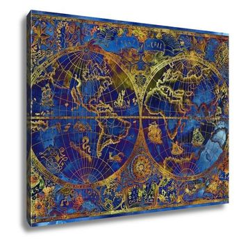 Gallery Wrapped Canvas, Vintage Illustration With Blue World Atlas Map On D Pirate Adventures Treasure