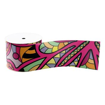 Kaleidoscopic Multicolored Abstract Pattern Grosgrain Ribbon