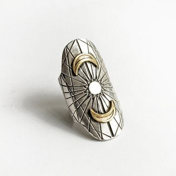 Cosmic armor ring - sun and  crescent moon