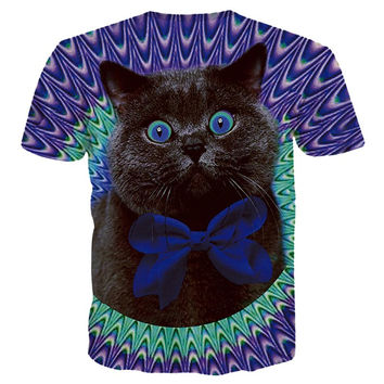 New Arrivals Men/Women 3d T-shirt Print Lovely Blue Eyes Cat Tshirts Fashion Summer Tops Tees