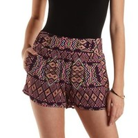 Purple Combo Geometric Print High-Waisted Shorts by Charlotte Russe