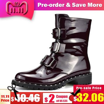 Odetina New Fashion Patent Leather Motorcycle Boots Women Chunky Heel Side Zip Buckle Women Punk Boots Autumn Winter Big Size 41