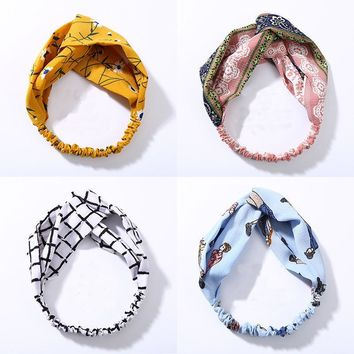 Fashion Women Knot Cloth Bandanas Print Striped Plaid Elastic Headbands Girls Head Wrap Hairbands Lady Hair Accessories Headwear