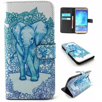 Blue Elephant Print Leather Case Cover Wallet for iPhone & Samsung Galaxy