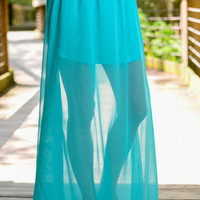 The Esmeralda Maxi Skirt, Aqua