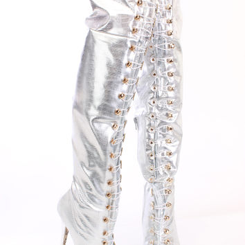 Silver Looped Thigh High Platform Boots Snake Faux Leather