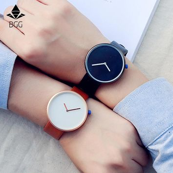 European Minimalist Style Watch Simple Personality Big Dial Neutral Wristwatch Leather Strap Waterproof Quartz Watch clock gift