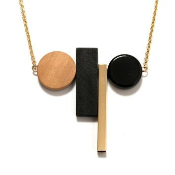 Geometric Wood Resin Sweater Pendant Necklaces