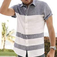 Short Sleeve Chambray Stripe Shirt from EXPRESS