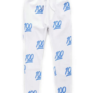 White and Blue 100 Emoji Joggers Pants