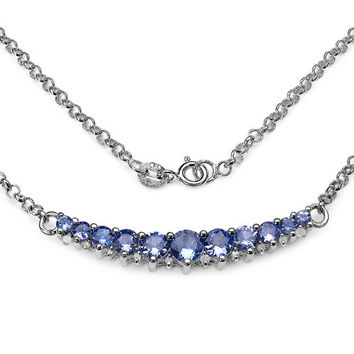 2.49 Carat Genuine Tanzanite & White Diamond .925 Sterling Silver Necklace