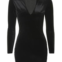 Deep Plunge Velvet Bodycon Dress - Black