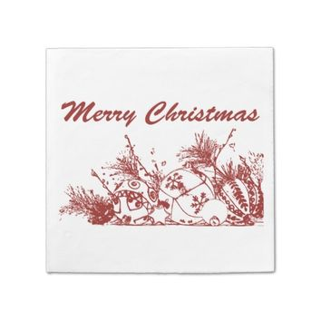 Cocktail Napkins - Merry Christmas Bauble Sketch D