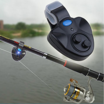 New Black Electronic L Light Fish Bite Sound Alarm Bell Clip On Fishing Rod HO SS = 1713241988