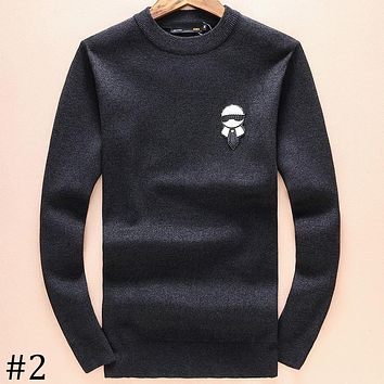FENDI 2018 autumn and winter embroidered little monster badge round neck pullover sweater F-A00FS-GJ #2