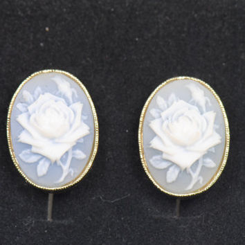 Vintage Avon Signed Rose Clip on Earrings