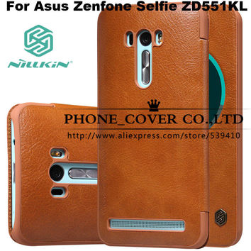 Nillkin Genuine Wallet Leather Case cover For Asus Zenfone Selfie ZD551KL 5.5 fundas bags cases + HD / Glass screen protectors