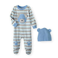 Koala Baby Boys Blue/Grey Striped Bear Face Applique Footie with Paw Print Knee Detail and Matching Hat