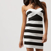 Black Stripe Chunky Bandage Bodycon Dress