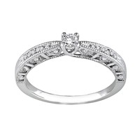 Sterling Silver 1/10-ct. T.W. Diamond Ring (White)