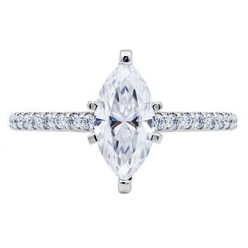 Marquise Moissanite 6 Prongs Diamond Accent Ice Cathedral Solitaire Ring
