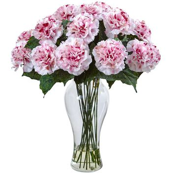 Artificial Flowers -Blooming Carnation Arrangement With Vase No5 Silk Plant